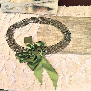Women's Rhinestone green ribbon belt
